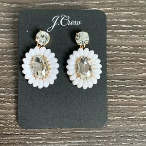 J. Crew NWT White Beaded Statement Earrings